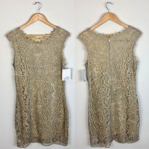 NWT Belle Badgley Mischka Gold Dress